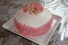 Rose Petal Coconut Cake -- For feast of St. Therese