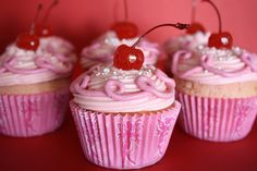 Pinkalicious cupcake recipe...use a cupcake corer for raspberry jam in middle!