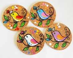Items similar to handpainted cork coasters in a pretty bird design. on Etsy : Items similar to handpainted cork coasters in a pretty bird design. on Etsy Coaster Art, Tea Coaster, Coaster Design, Wood Slice Crafts, Wood Burning Crafts, Painted Bamboo, Painted Rocks, Hand Painted, Pottery Painting Designs