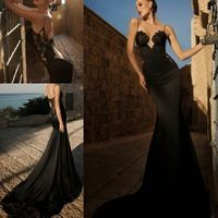 New Fashion Black Spaghetti Straps Long Backless Evening Party Dresses Satin with Lace Mermaid Court Train Sexy Prom Dress Gowns