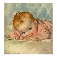 Vintage Cute Baby on a Blanket Poster by YesterdayCafe