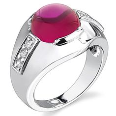 Mens 700 Carats Round Cabochon Created Ruby Ring in Sterling Silver Rhodium Nickel Finish Size 13 ** Check this awesome product by going to the link at the image.