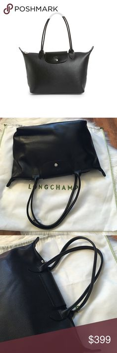 """NWOT Longchamp Le Foulonne Black Shoulder Tote Brand new. Dust bag a bit dirty from storage. Gorgeous lexurious leather and strenthened straps that make it easy to use every day. Double handles. Snap tab closure, zip closure. Two interior pockets, interior zip pocket. 11.5""""L x 5.25""""W x 9.25""""H and 7.5"""" handle drop. Offers welcome through offer tab. No trades. 10925161991 Longchamp Bags Totes"""