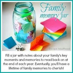 Memory Jar- throughout the year, jot down things that made you smile. On New Year's Eve, empty the jar and read all of the memories of the past year. Do It Yourself Upcycling, Diy And Crafts, Crafts For Kids, Summer Crafts, Cool Mom Picks, Family Memories, Memories Jar, Jaba, My New Room