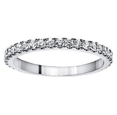 Introducing 065 CT TW Pave Set Diamond Encrusted Wedding Band in 14k White Gold  Size 9. Get Your Ladies Products Here and follow us for more updates!