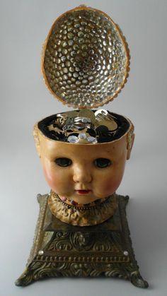 Jewelry/Trinket Box made with a doll head.