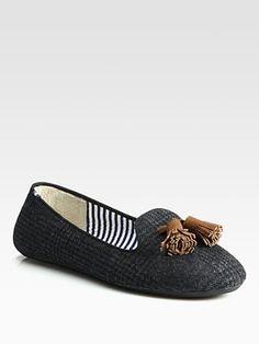 Charles Philip Shanghai Wool Tweed and Suede Tassel Smoking Slippers