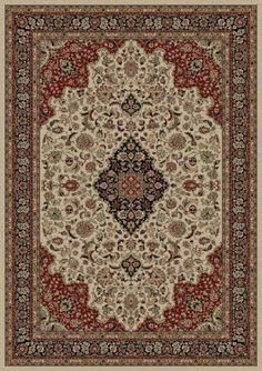 Concord Global Persian Classics Medallion Kashan Ivory (2082) Area Rugs