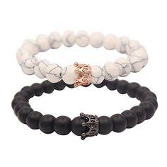 UEUC Distance Couple Bracelets with CZ Crown King&Queen Black&White Howlite Beads Bracelet Bracelet Couple, Couple Jewelry, Bracelet Set, Promise Bracelet, Black Bracelets, Bracelets For Men, Jewelry Bracelets, Lokai Bracelets, Jewelry Accessories