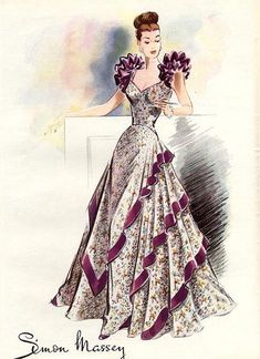 A beautiful 1940s evening gown with oodles of shoulder interest going on. Illustration by Simon Massey.