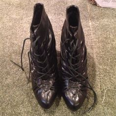 """💖FINAL MARKDOWN💖 Black lace up boots Worn maybe twice. 4 1/2"""" heel JustFab Shoes"""