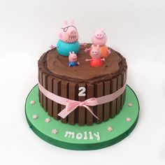 Peppa Pig Muddy Puddles cake Toddler Birthday Cakes, Peppa Pig Birthday Cake, Birthday Cake Girls, 3rd Birthday, Birthday Ideas, Tortas Peppa Pig, Cumple Peppa Pig, Cupcakes, Cupcake Cakes