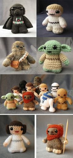 Funny pictures about Mini Crochet Star Wars. Oh, and cool pics about Mini Crochet Star Wars. Also, Mini Crochet Star Wars. Star Wars Crochet, Crochet Stars, Cute Crochet, Crochet Crafts, Yarn Crafts, Knit Crochet, Crochet Baby, Diy Crafts, Knitting Projects