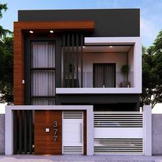 Narrow House Designs, Modern Small House Design, Modern Exterior House Designs, Modern House Facades, Exterior Design, Modern Design, Contemporary House Plans, Minimalist House Design, Modern Minimalist