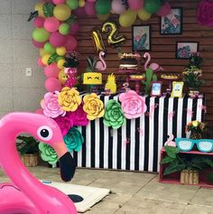 Créditos: @xuxucakes 2 Ideias para Festa Flamingo Pink Flamingo Party, Flamingo Birthday, Barbie Birthday, Luau Birthday, Luau Theme Party, Birthday Party Themes, Tropical Party, Its My Bday, Holidays And Events