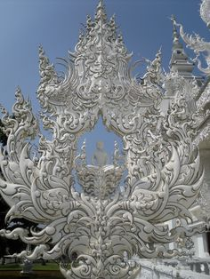 Ornate detailing at White Temple in Chiang Rai