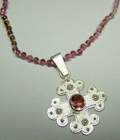 """Galnz und Gloria-Collection"" 2012, pink-tourmaline necklace  silvercross - jewelry by Nicole Bolze ORIGINALS"