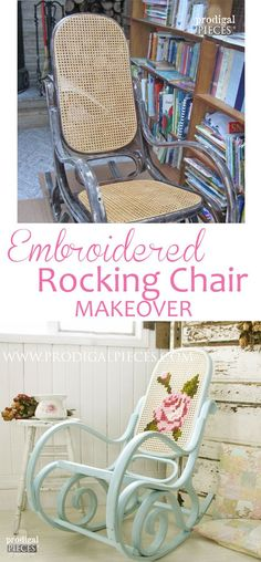 An outdated vintage Bentwood rocker gets an embroidered makeover to a shabby chic rocking chair. Make this fun project your own and DIY embroider it! Shabby Chic Rocking Chair, Rocking Chair Makeover, Rocking Chairs, Vintage Rocking Chair, Paint Furniture, Furniture Projects, Furniture Makeover, Decoupage Furniture, Furniture Refinishing