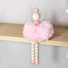 Diy ornaments 853432198120291645 - Nordic Style Ballet Dancer Hanging Decoration Wooden Beads Girl Room Source by amandawem Pom Pom Crafts, Yarn Crafts, Bead Crafts, Diy And Crafts, Crafts For Kids, Preschool Crafts, Beaded Garland, Beaded Ornaments, Diy Xmas Ornaments
