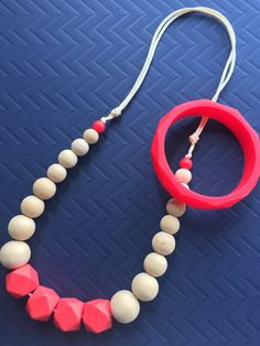 Necklace & bracelet set, coral red, wood and silicone beads