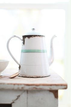 #white #enamel pot