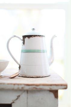 ♕ sweet little French enamelware coffee pot.