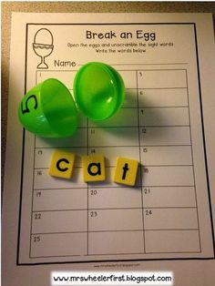 Free Easter egg sight word activity. Break an egg, unscramble the letters and write it on the sheet. So fun! Get this and MORE great ideas to use with Easter eggs. Perfect for students with special learning needs. Very visual and hands on. Read more at: http://mrswheelerfirst.blogspot.com/2015/03/egg-cellent-activities.html