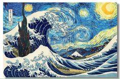 """Mashup: """"Grande Onda em Nakagawa"""", de Hokusai, e """"Noite Estrelada"""", de Van Gogh"""