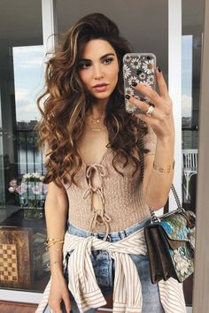 Ribbed-Knit Deep V-neck Bowknot Lace Up Triangle Short Jumpsuit The style destination for . Hair Inspo, Hair Inspiration, Negin Mirsalehi, Selfie Sexy, Short Jumpsuit, Simple Outfits, Hair Dos, Healthy Hair, Marie