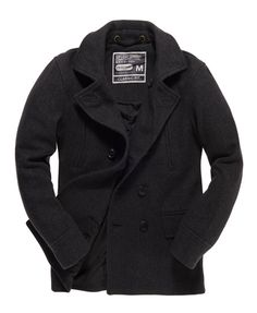 Mens - Commodity Pea Coat in Grey Tweed | Superdry £99.99