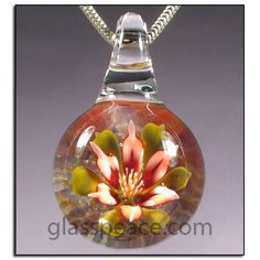 SALE Red Glass Flower Pendant - Hand Blown Glass Jewelry by Glass Peace $24.00
