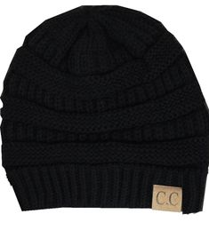Black Thick Slouchy Knit Oversized Beanie Cap Hat,One Size,Black