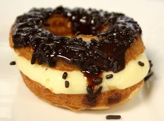 Cronut Filled with Cream, Topped with Chocolate and Sprinkles [Cronuts? What is this wondrous thing?]