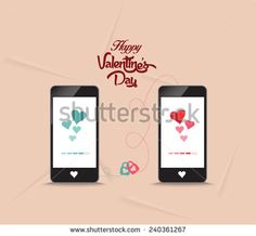 valentines day connecting hearts together by phone
