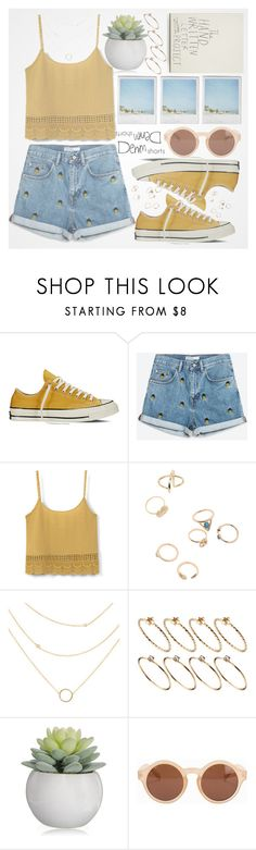 """denim shorts"" by marijkeuitdewilligen ❤ liked on Polyvore featuring Converse, MANGO, ASOS, Polaroid, NLY Accessories, jeanshorts, denimshorts and cutoffs"