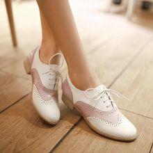 2015 simples e moda rodada toe praça salto baixo lace up mulheres Oxford shoes cores mistas recortes calçados femininos(China (Mainland))