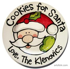 Handmade Ceramic Cookies for Santa Plate 10 or 7 dishwasher and food safe. Each is made by hand and will vary. Personalized with a name or family name and a date can be added if you wish. (c)Artzfolk Christmas Plates, Kids Christmas, Cookies For Santa Plate, Santa Plates, Birthday Plate, Painted Plates, Ceramic Plates, Paint Your Own Pottery, Pottery Painting