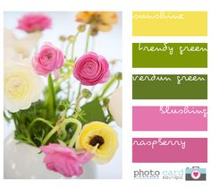 Pinks and greens with a touch of yellow - my favorite color scheme - it's happy!