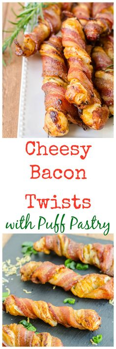 Cheesy Bacon Twists with Puff Pastry.      One sheet of puff pastry dough, defrosted     Three tablespoons any flavor jam or preserves, or one beaten egg white     ½ cup finely grated cheese of your choice     Toppings of your choice, such as: 1 tablespoon finely chopped herbs, like rosemary, basil, thyme, or sage....1 tablespoon finely chopped jalapeno...2 tablespoons finely chopped green onion...2 tablespoons minced garlic...freshly ground pepper...     12 slices of baco
