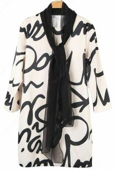 White Shawl Embellished Letters Print Dress