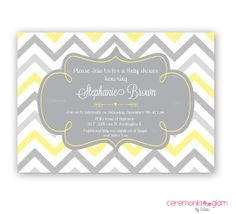 Baby shower yellow and grey chevron arrow by ceremoniaGlam on Etsy Sprinkle Invitations, Printable Baby Shower Invitations, Baby Invitations, Baby Shower Invites For Girl, Baby Shower Printables, Invitation Ideas, Baby Shower Yellow, Baby Shower Fall, Baby Yellow