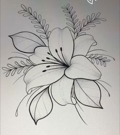 Rose Drawing Tattoo, Flower Tattoo Drawings, Tattoo Design Drawings, Flower Tattoo Designs, Pencil Art Drawings, Tattoo Sketches, Tatto Floral, Simple Flower Tattoo, Lily Flower Tattoos