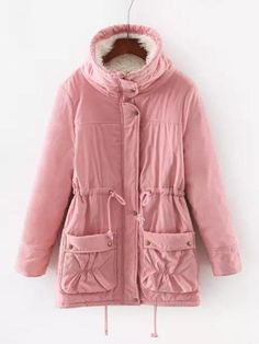 Casual Solid Color Thicken Hooded Drawstring Waist Women Coats