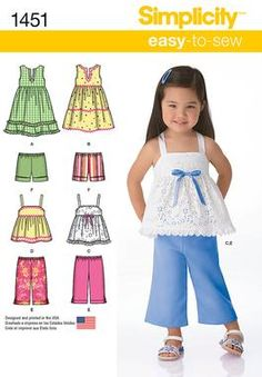 Simplicity Creative Group - Toddlers' Dresses, Top, Cropped Pants and Shorts http://www.simplicity.com/p-11750-toddlers-dresses-top-cropped-pants-and-shorts.aspx#t-0