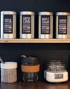 Tea station for my Davids Tea tins, sugar, keepcup, tea bags and tea maker.