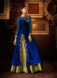 Buy Blue Silk Indo Western Lehenga Choli 73073 online at lowest price from vast collection at m.indianclothstore.c.