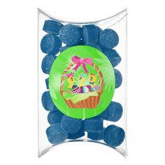 Easter Basket of Chicks-n-Eggs Blueberry Gum Pillow Box Favors by #MoonDreamsMusic #BlueberryGumFavors #PillowBoxFavors #EasterChicks #EasterBasket #EasterEggs