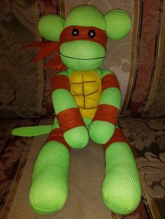 Ninja Turtle Sock Monkey Handmade by punkimunki on Etsy