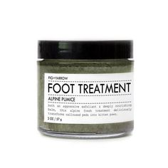 ALPINE PUMICE FOOT TREATMENT isboth an aggressive exfoliant and deeply nourishing balm. this alpine-fresh treatment deliciously transforms your calloused peds