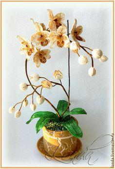 """Цветы ручной работы. Ярмарка Мастеров - ручная работа. Купить Орхидея """"Капучино"""". Handmade. Золотой, орхидея из бисера, орхидеи, кофе"""